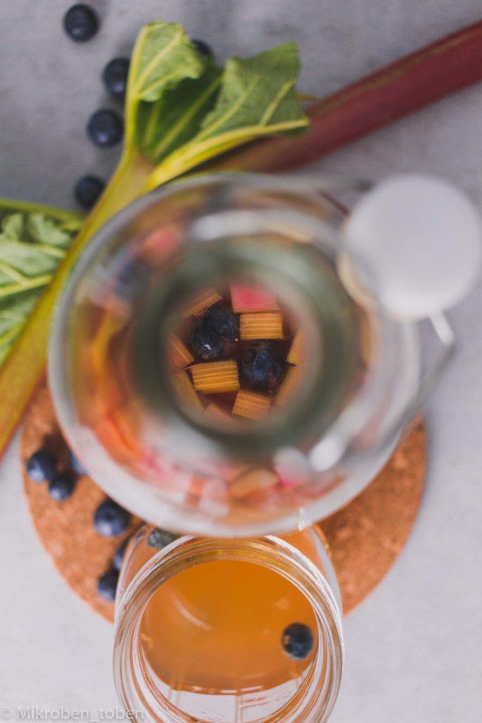 Rhabarber Kombucha Blick in die Flasche