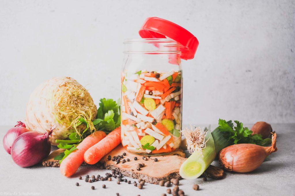 Suppengemüse haltbar gemacht und fermentiert