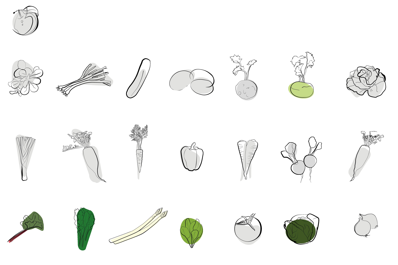 Saisonales Gemüse und Obst im April