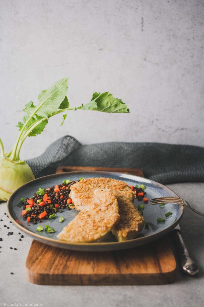 Veganes Schnitzel mit Linsen